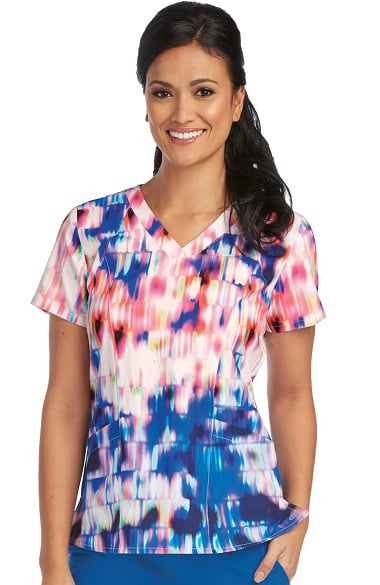 Barco One Women's V-Neck Abstract Print Scrub Top