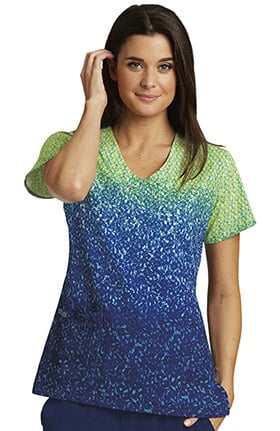 Barco One™ Women's V-Neck Abstract Print Scrub Top