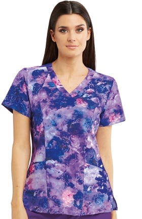 Barco One Women's Stormy Floral Print Scrub Top