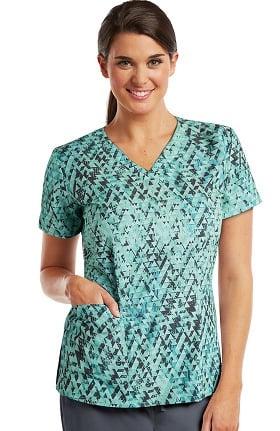 Clearance Barco ONE™ Women's V-Neck Geometric Print Scrub Top