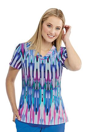 Barco One Women's Vibrant Prism Print Scrub Top