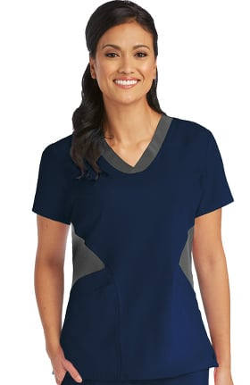 Clearance Barco One Women's V-Neck Contrast Solid Scrub Top