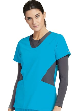 Barco One™ Women's V-Neck Contrast Panel Solid Scrub Top