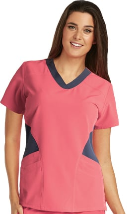 Clearance Barco One™ Women's V-Neck Contrast Panel Solid Scrub Top