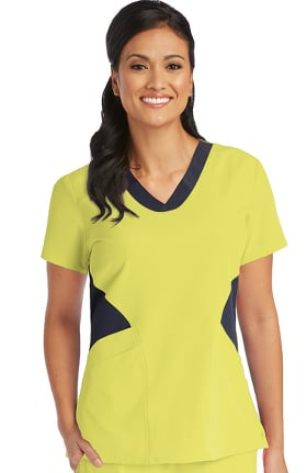 Clearance Barco One Women's V-Neck Contrast Panel Solid Scrub Top