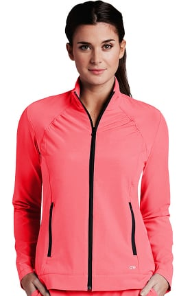 Clearance Barco One™ Women's Stand Collar Zip Up Solid Scrub Jacket