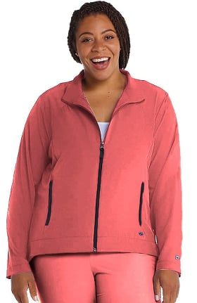 Clearance Barco One Women's Stand Collar Zip Up Solid Scrub Jacket