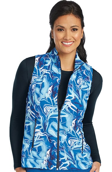 Barco One Women's Stand Collar Zip Front Abstract Print Scrub Vest