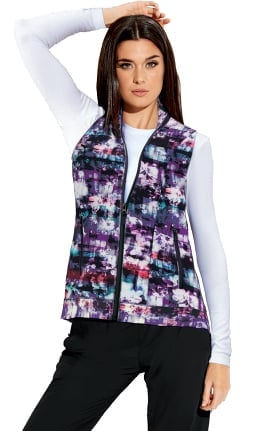 Barco One Women's Zip Front Abstract Print Scrub Vest