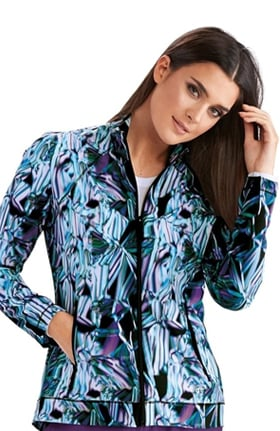 Barco One Women's Light Beams Print Scrub Jacket