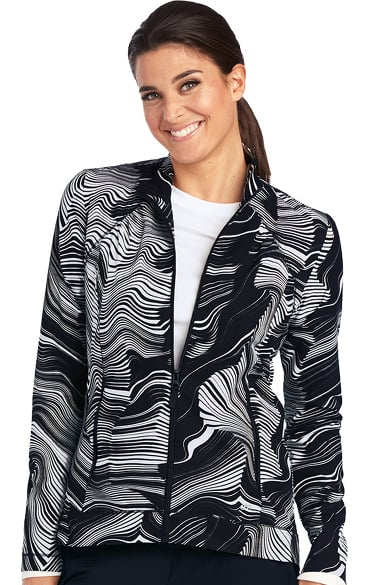 Barco One Women's Stand Collar Zip Front Abstract Print Scrub Jacket