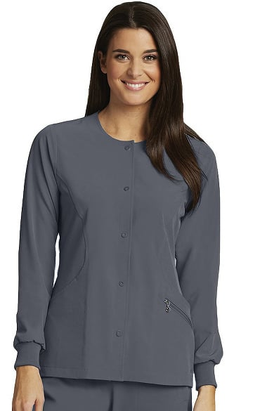 Barco One Women's Perforated Snap Front Solid Scrub Jacket