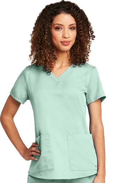 Grey's Anatomy Classic Women's V-Neck Shirred Back Solid Scrub Top Mist