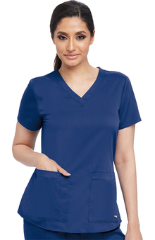 Grey's Anatomy Classic Women's V-Neck Shirred Back Solid Scrub Top