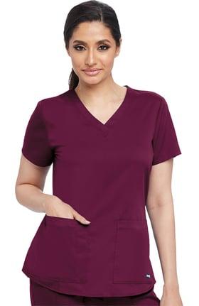 Grey's Anatomy™ Classic Women's V-Neck Shirred Back Solid Scrub Top