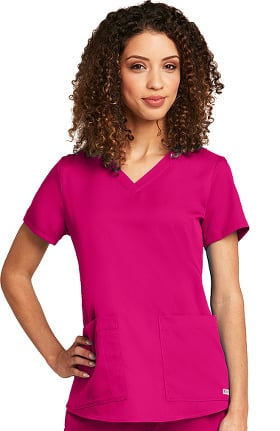 Clearance Grey's Anatomy Classic Women's V-Neck Shirred Back Solid Scrub Top