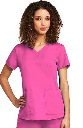 Clearance Grey's Anatomy™ Classic Women's V-Neck Shirred Back Solid Scrub Top