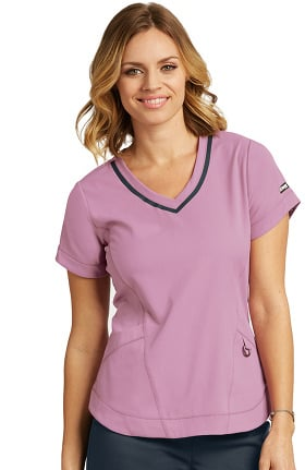 Clearance iMPACT by Grey's Anatomy Women's Seamed V-Neck Solid Scrub Top