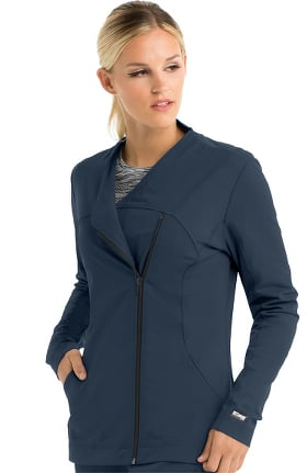iMPACT by Grey's Anatomy Women's Asymmetric Zip Solid Scrub Jacket