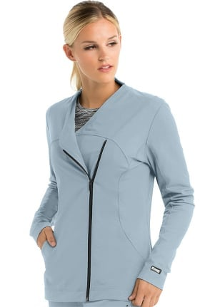 Clearance iMPACT by Grey's Anatomy Women's Asymmetric Zip Solid Scrub Jacket