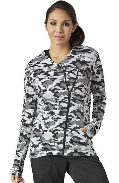 iMPACT by Grey's Anatomy Women's Asymmetric Zip Camo Print Scrub Jacket