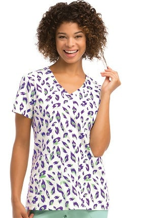 Clearance KD110 Women's V-Neck Animal Print Scrub Top