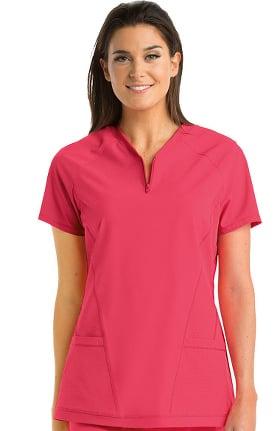Clearance Barco One Women's Boost Half Zip V-Neck Raglan Sleeve Solid Scrub Top