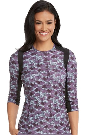 Wellness by Barco One Women's Block Mesh Zen Print T-Shirt