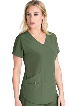 Wellness by Barco One Women's Mock Wrap Split Back Solid Scrub Top