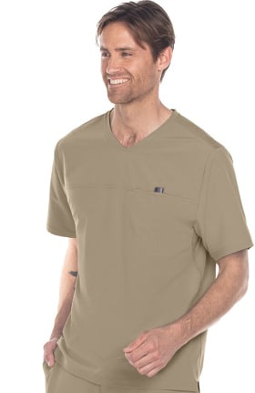 Clearance Wellness by Barco One Men's V-Neck Mesh Yoke Solid Scrub Top