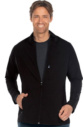 Clearance Wellness by Barco One Men's Zip Front Solid Scrub Jacket