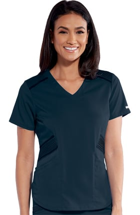 iMPACT by Grey's Anatomy Women's Moto Inspired Solid Scrub Top