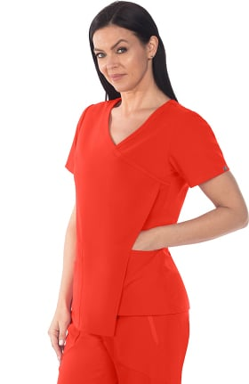 Clearance Signature by Grey's Anatomy Women's Mock Wrap Asymmetrical Drape Solid Scrub Top