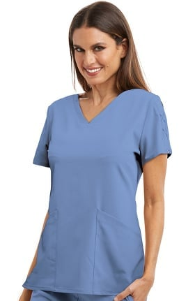 Signature by Grey's Anatomy Women's Astra V-Neck Laced Sleeve Solid Scrub Top