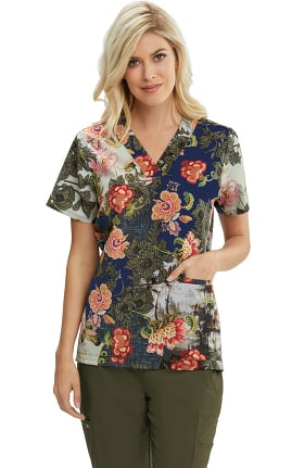 Clearance Signature by Grey's Anatomy Women's Majestic Blooms Print Scrub Top