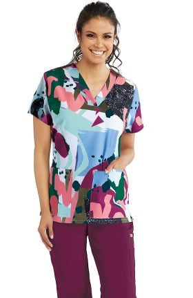Clearance Signature by Grey's Anatomy Women's Muse Print Scrub Top
