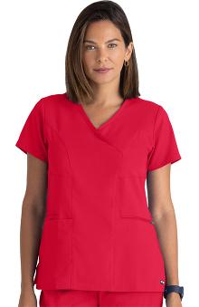 Spandex Stretch by Grey's Anatomy Women's Surplice Solid Scrub Top