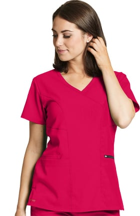 Spandex Stretch by Grey's Anatomy Women's Surplice Solid Scrub Top