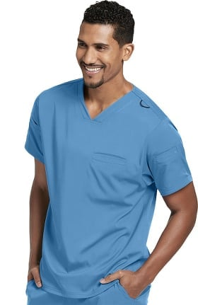 Spandex Stretch by Grey's Anatomy Men's Welt Pocket Solid Scrub Top