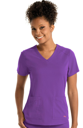 Clearance Spandex Stretch by Grey's Anatomy Women's V-Neck Solid Scrub Top