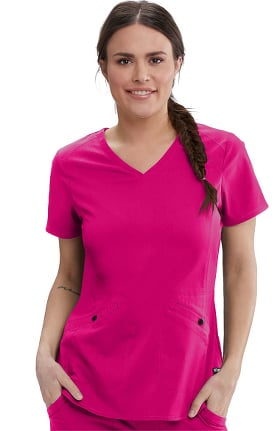 Spandex Stretch by Grey's Anatomy Women's Zoe Solid Scrub Top
