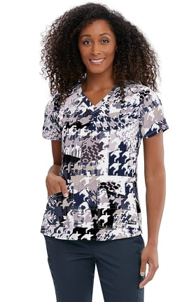 Clearance Spandex Stretch by Grey's Anatomy Women's Abstract Houndstooth Print Scrub Top