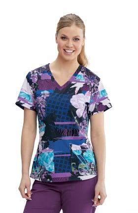Spandex Stretch by Grey's Anatomy Women's Midnight Blossoms Print Scrub Top