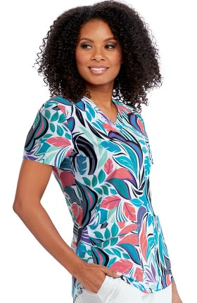 Clearance Spandex Stretch by Grey's Anatomy Women's Palms Print Scrub Top