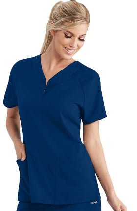 Spandex Stretch by Grey's Anatomy Women's Raglan Zip Detail Solid Scrub Top