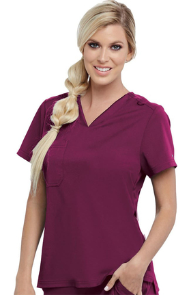 Spandex Stretch by Grey's Anatomy Women's Bree Tuck-In Solid Scrub Top