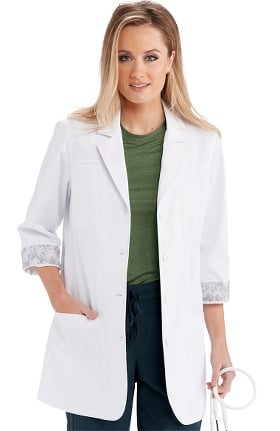 "Clearance B1 Team by Barco Uniforms Women's 34"" 2 Pocket Back Belted Lab Coat"
