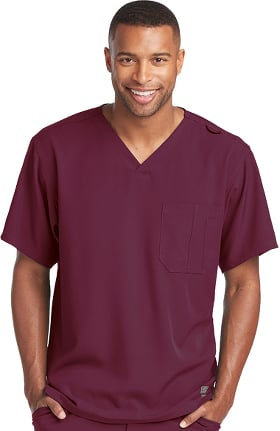 Skechers Men's Structure V-Neck Chest Pocket Solid Scrub Top