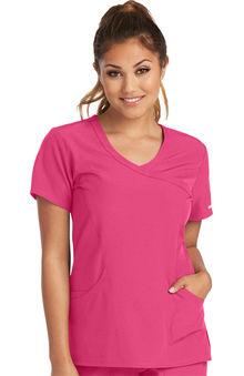 Skechers Women's Reliance Mock Wrap Solid Scrub Top