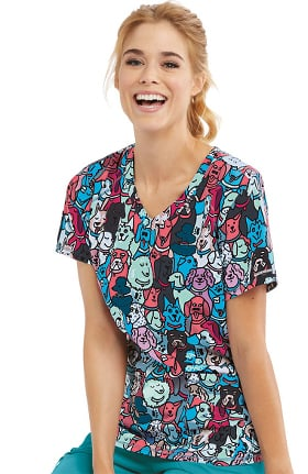 Skechers Women's Best Friend Print Scrub Top